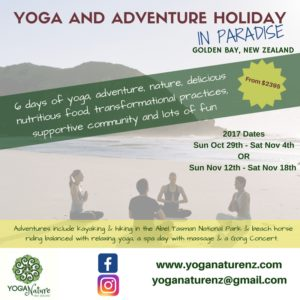 Yoga and Adventure Holiday in Golden Bay @ The Sandcastle | Pohara | Tasman | New Zealand
